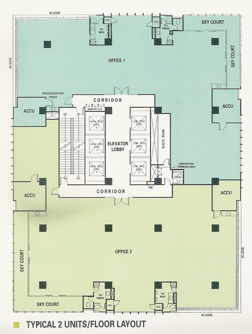 Amberland corporation one san miguel avenue for Typical office floor plan